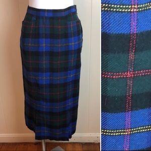 Vintage 80s 90s High Waisted Plaid Steampunk Skirt